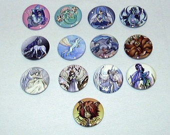 "Bakers Dozen Fantasy ""Sweet"" Pin-Back Buttons by Neon Dragon Art"