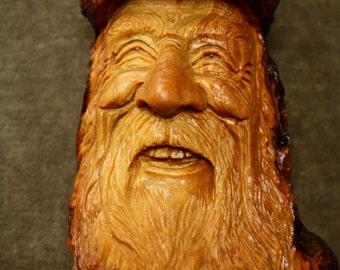 Handmade Tree Spirit gift wood carving Wood Spirit present for Dad