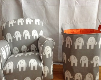 Baby Hamper, Laundry Hamper, Toy Basket, Storage Bin, Elephant 12 x 10 x 18  Choose your colors water repellent lining available