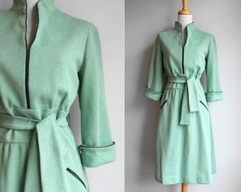 Vintage 1960s Mint Day Dress-  Light Green Knit Sweater Work Dress  Long Sleeve Belted Waist Gathered Skirt- Size Large L