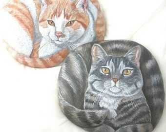 Painted Rocks by Shelli Bowler, Custom of your pet,10-12 inches in lenght on a semi flat river stone