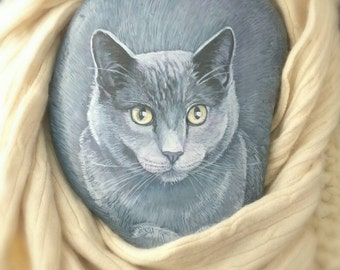 Cats, Realistic Pet Portrait, Memorial  on a Stone,  8-9 in, Semi flat stone- Painted Rocks by Shelli Bowler