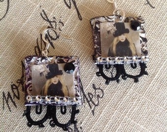 A Lady Like her Rises, Stevie Nicks earrings, Lace and Crystal  with Black Rhinestones and photo, music jewelry