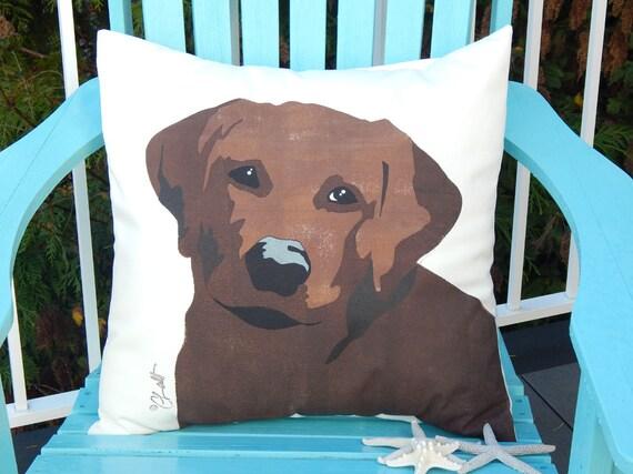 PET RESCUE BENEFIT: Chocolate lab outdoor pillow labrador retriever painted pet dog best friend rescue benefit rescue Crabby Chris