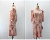 Vintage Dress - 1970s does 1920s in Pink Floral