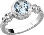 14kt White Gold Aquamarine & Diamond Unique Engagement Ring March Birthstone