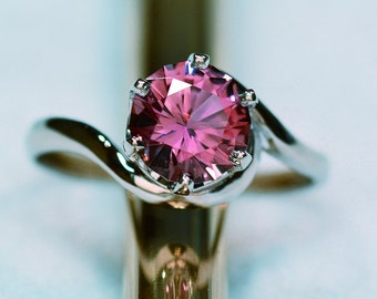 14kt White Gold 1.24 Carat PinkTourmaline Unique Engagement Ring, October Birthstone