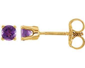 14kt Gold AAA Grade Amethyst Studs, February Birthstone, Gold Amethyst Earrings