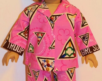 """DOLL SCOUT BADGES Cotton Pajamas - Fabric is no longer produced - Fits 18"""" Dolls - Proudly Made in America"""
