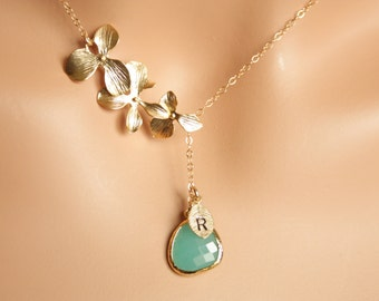 Wedding Jewelry, personalized lariat Y  Necklace - Tripe Orchid Flowers with Aqua Blue Stone and initial leaf in GOLD , adorable jewelry