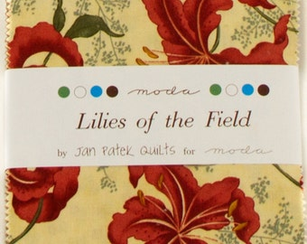 "LILIES of the FIELD Charm Pack by Jan Patek for Moda Fabrics 2150PP 42 5"" Fabric Squares"