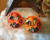 Halloween Tin Noisemakers Witch US Metal Co. Vintage 1950's Decorations FREE SHIP