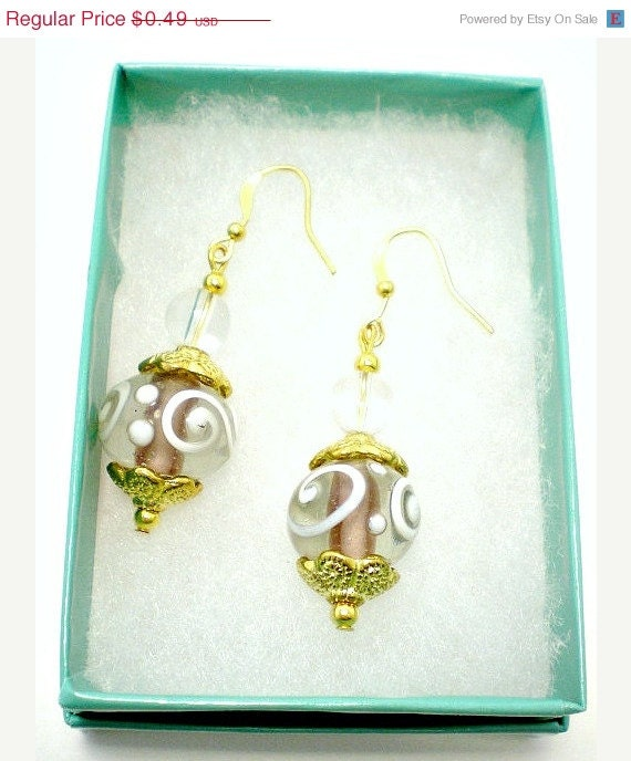 Artisan Glass Swirl Dangle Earrings Gold with Purple Gift cheap jewelry Idea