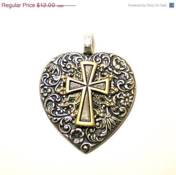 Sale Cross Heart Pendant with Fleur de Lis for Necklace Art Deco Nouveau Victorian Goth Rock Punk Vampire silver brass