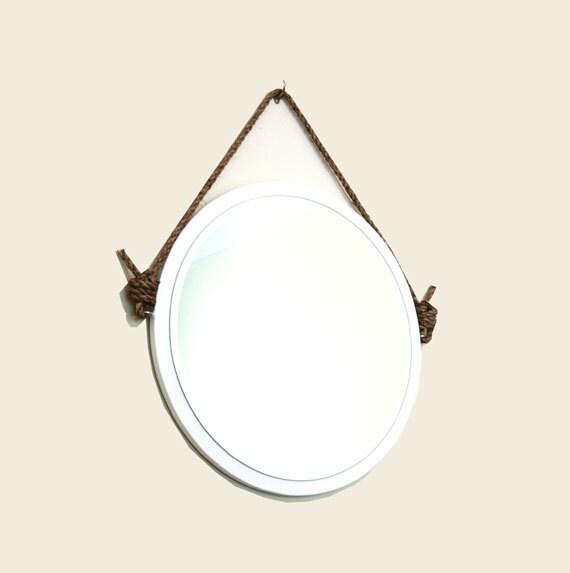 24 rond miroir de corde blanche miroir de nautique par pinkpianos. Black Bedroom Furniture Sets. Home Design Ideas