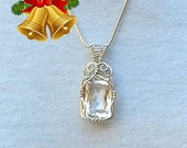 Dazzle her with this Diamond look a like Clear Quartz Crystal necklace handcrafted in Sterling silver