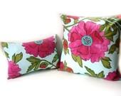 Decorative pillow set, rose pink flowers, modern Summer pillow set, contemporary pillows, home decor cushions, throw pillows, pink green