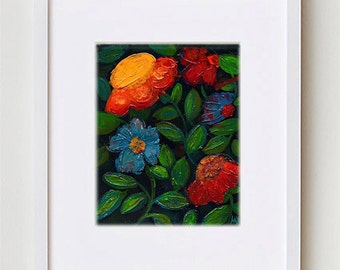 """Abstract Floral Painting, Night Flowers Art Print 8x10"""", Contemporary Bohemian Floral Art for Home Decor #6"""