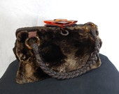 1930's Genuine Sheared BEAVER FUR HANDBAG with a Braided Horse Hair Handle and Bakelite Clasp