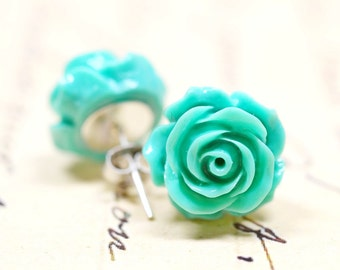 Mint Green Rose Earrings, 14mm Flower Studs, Retro Cottage Chic Vintage Style Jewelry, The Rosie Large