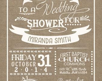 Burlap Wedding Shower Invitations - white & burlap