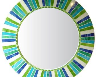 Round Mosaic Mirror - White, Lime Green, Aqua, Blue