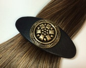 Genuine Black Lambskin Leather Vintage Brass Button  Embellished French Clip Barrette / Hand Made / Gift for Her / Statement