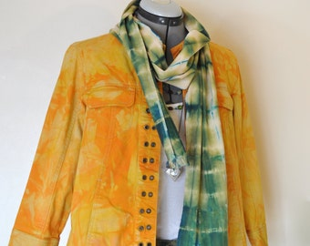 Orange Medium Cotton Jacket - Yellow Orange Hand Dyed Upcycled Dressbarn Box Jacket - Adult Women's Size 8 Medium (38 chest)
