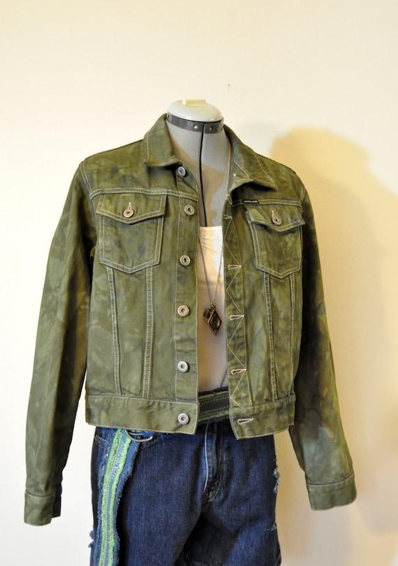 green teen medium denim jacket olive green dyed nautica denim