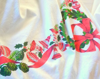 Square Christmas Tablecloth, Ribbons Wreaths Bells Ornaments Holly Poinsettias, Red Green Gold White, Novelty Print 50s 60s with Damage