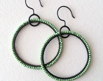 Large Green Beaded Loop Silver Earrings