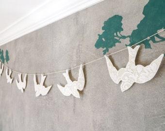 lace bird wedding garland
