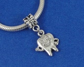 Tooth European Dangle Bead Charm - Silver Smiling Tooth Charm for European Bracelet