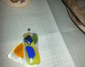 fused dichroic blue yellow orange pink and green glass Pendant 1.9 by 2 inch set on silver plated bail