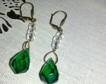 Emerald green dangly gold plated handmade earrings very sparkling