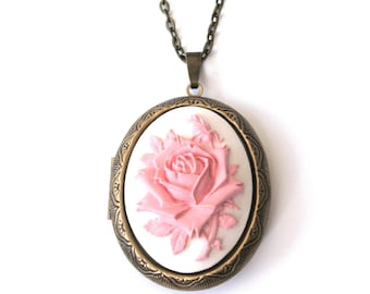 English Rose Locket, Flower Locket, Rose Cameo Locket Necklace, Pink Rose Locket in Antiqued Bronze or Gunmetal Finish
