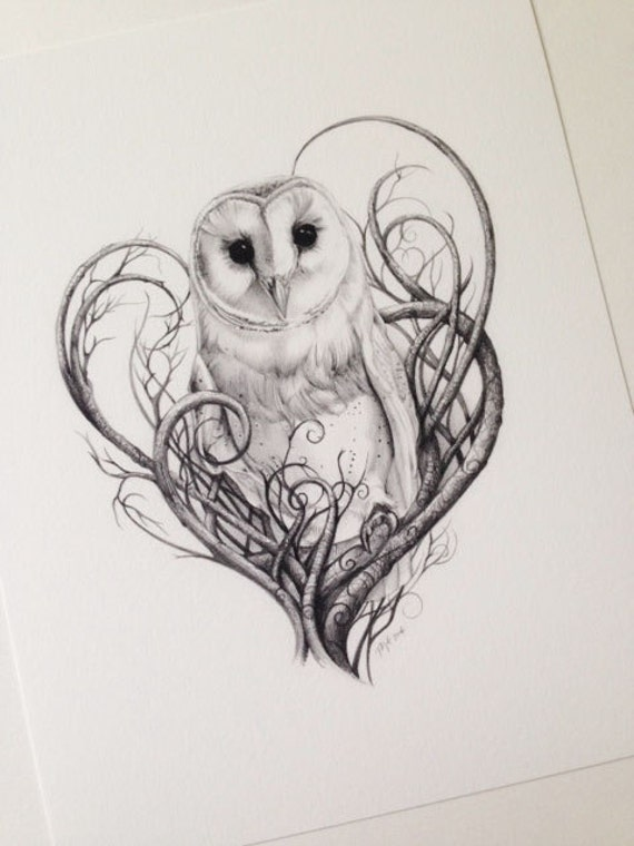 Items similar to Barn Owl Print - Owls - Limited Edition ... Labyrinth Owl Tattoo