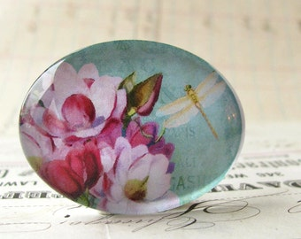 Aqua pink flower with dragonfly, horizontal oval handmade glass cabochon, 40x30mm 30x40mm 40x30 40mm 30mm 40 30 mm, floral cab, sideways