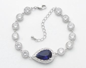Blue Wedding Bracelet, Blue Wedding Jewelry, Dark Sapphire, Blue Bridal Bracelet, Teardrop Bracelet, Something Blue, Aoi
