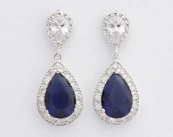Blue Earrings Wedding Jewelry Something Blue Bridal Earrings Large Dark Sapphire Blue Cubic Zirconia Teardrop Wedding Earrings, Aoi