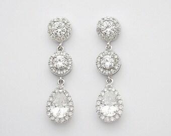 Bridal Earrings Jewelry Crystal Drop Earrings Wedding Jewelry Clear Cubic Zirconia Silver Crystal Earrings Wedding Earrings, Evi