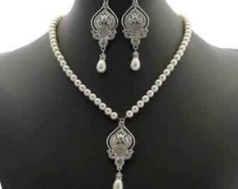 Pearl Wedding Jewelry Set Bridal Earrings and Necklace Set Bracelet Pearl Rhinestone Pearl Bridal Jewelry Set
