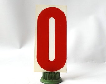 """vintage 1970's industrial marquee sign letter O type acrylic plastic red on white aged 6.5"""" tall decorative home decor church typography old"""