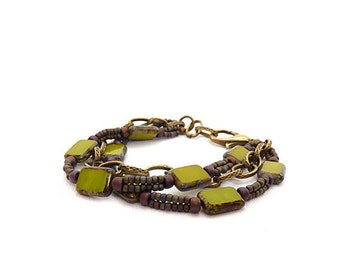 Olive Green Bohemian Beaded Bracelet - Picasso Glass Rectangles - Purple Seed Beads - Antiqued Brass Multistrand Bracelet