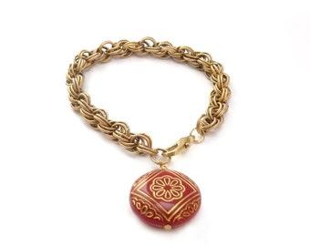 Chunky Gold Chain Bracelet - Red Charm - Layering Stacking Bracelet - Handmade Bohemian Jewelry