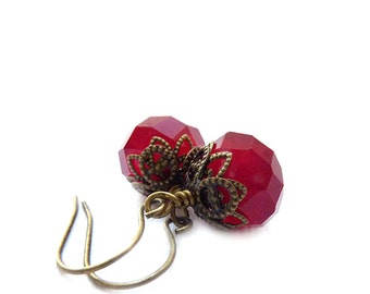 Red Earrings - Vintage Style Bronze Earrings - Ruby Red Short Dangles - RockStoneTreasures - Holiday Jewelry