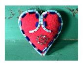 Valentines Gift Heart Ornament, Beaded Heart, Decorative Stuffed Heart, Folk Art Inspired