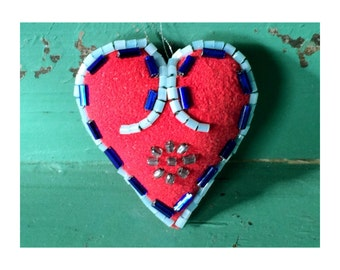 Valentines Gift Heart Ornament, Beaded Heart, Decorative Stuffed Heart, Folk Art Inspired