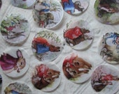 Peter Rabbit Seals or Stickers  - 24 handpunched Peter Rabbit and Benjamin Bunny stickers or seals - 1.5 inch