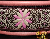 Handmade Martingale Chain Leather Dog Collar PINWHEEL ZINNIA by dogs-art in pink/black/pink